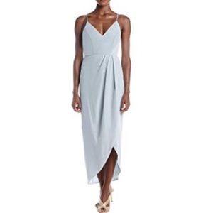 Xscape Formal Wrap Midi Dress High-Low Dusty Blue